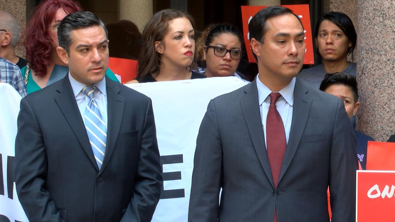 State Rep. Cesar Blanco, D- El Paso, left, and U.S. Rep. Joaquin Castro, D-TX (20th District), right, stand together at a press conference to push back against the legislation passed during the special session. August 16, 2017 (Nexstar Photo/Wes...