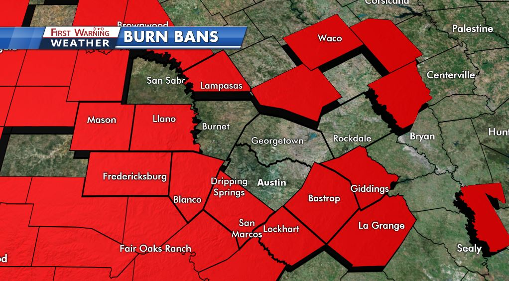 Latest burn ban update as of Tuesday, August 8, 2017.