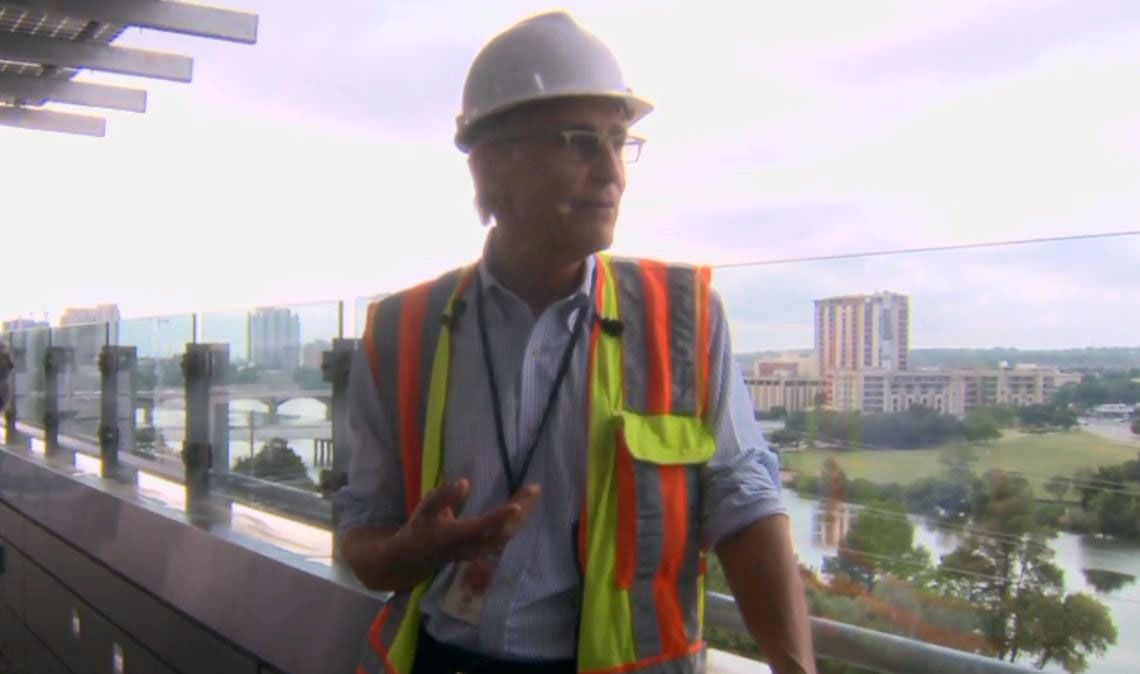 Library Project Manager John Gillum on top of the Austin Central Library's patio. (KXAN Photo)