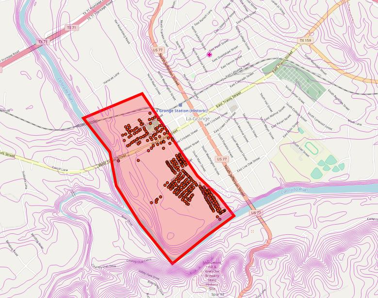 Evacuation areas for La Grange as of Sunday, Aug. 27, 2017.