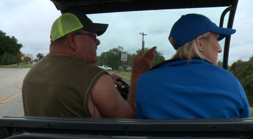 James Cooper, a La Grange resident, gave KXAN's Brittany Glas a closer look at the flood conditions Monday in an ATV. (KXAN Photo/Richard Bowes)