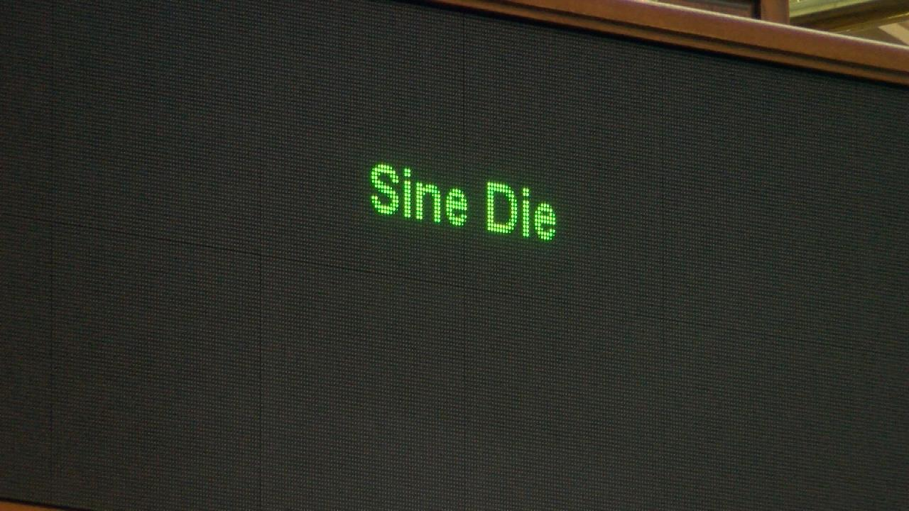 The electronic sign in the Texas Senate reads Sine Die, marking the end of the special legislative session on August 15, 2017. (Nexstar Photo/Wes Rapaport)