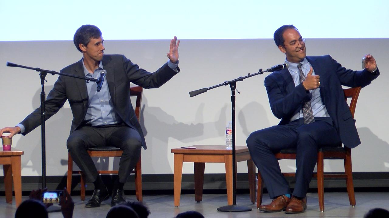 """United States Representatives Beto O'Rourke, D-Texas (16th District), and Will Hurd, R-Texas (23rd District) snap a """"selfie""""at the Texas Tribune Festival 2017 on Sept. 23, 2017. (Nexstar Photo/Wes Rapaport)"""