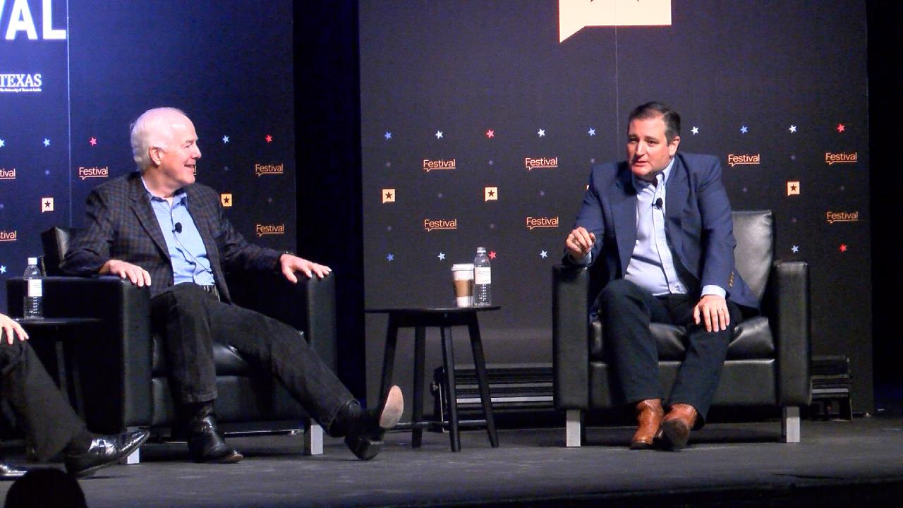 U.S. Sens. John Cornyn (left) and Ted Cruz (right), both R-Texas, participate in the Texas Tribune Festival on Sept. 24, 2017. (Nexstar Photo/Wes Rapaport)