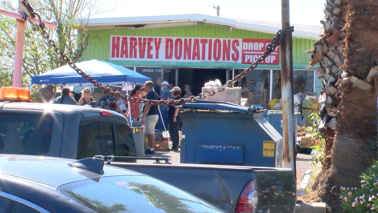 The Aransas County Harvey Donation Center located at 99 N Austin in Rockport, Texas. (Nexstar Photo/Wes Rapaport)