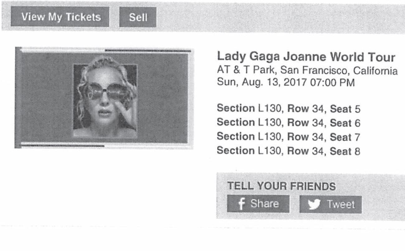 Lady Gaga World Tour ticket purchased by the Convention Center_552909