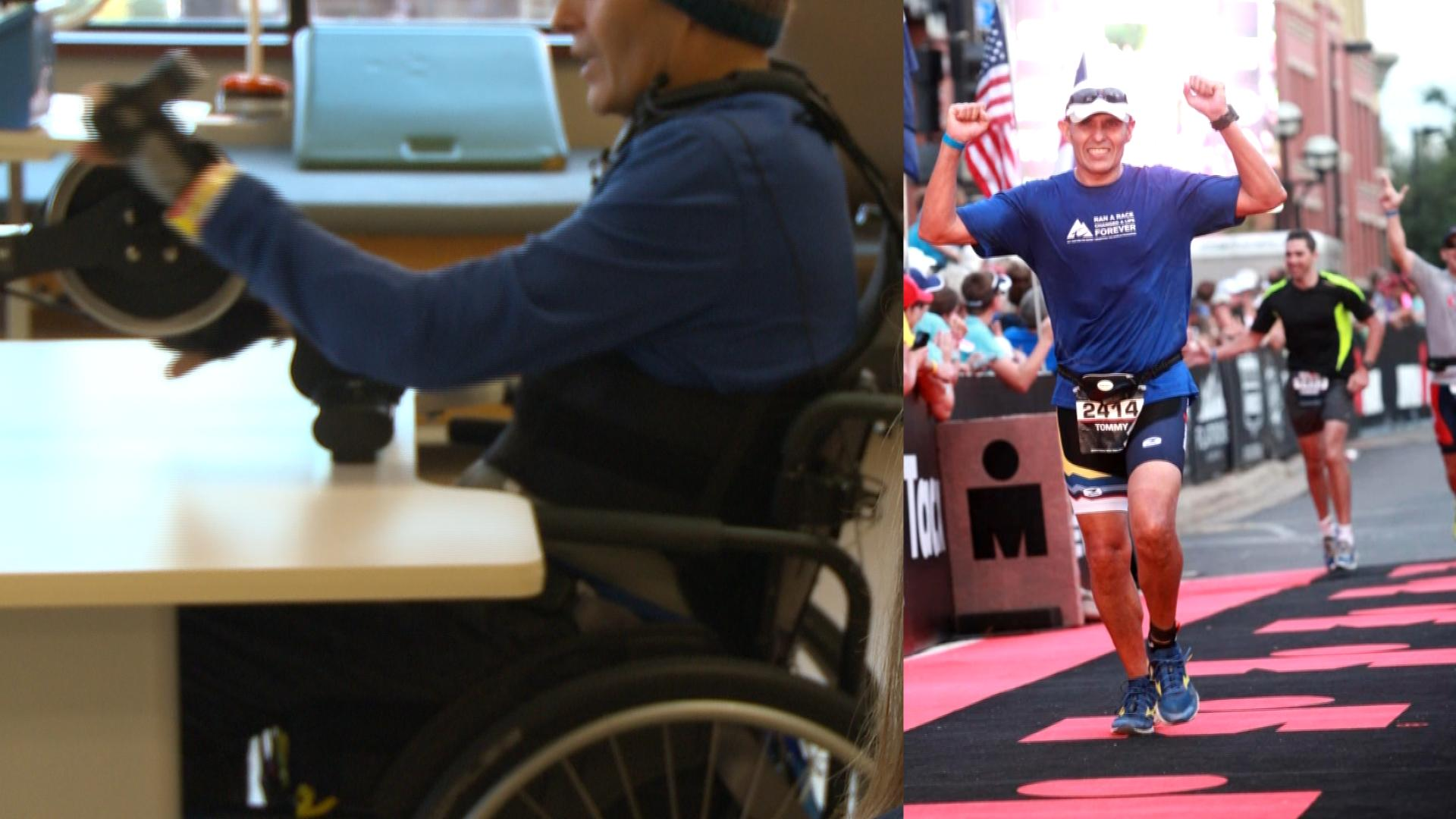 Tommy Levario doing therapy exercises, (Left, KXAN Photo/ Alyssa Goard). Tommy Levario competing at an Ironman triathlon (Right, courtesy Sam Levario).