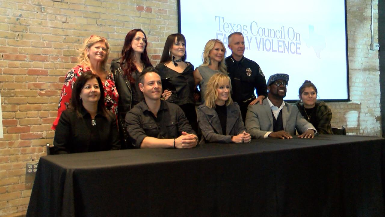 Collaborators of a public service announcement campaign against domestic violence participate in a press conference launching the series of music videos on Oct. 16, 2017. (Nexstar Photo/Wes Rapaport)