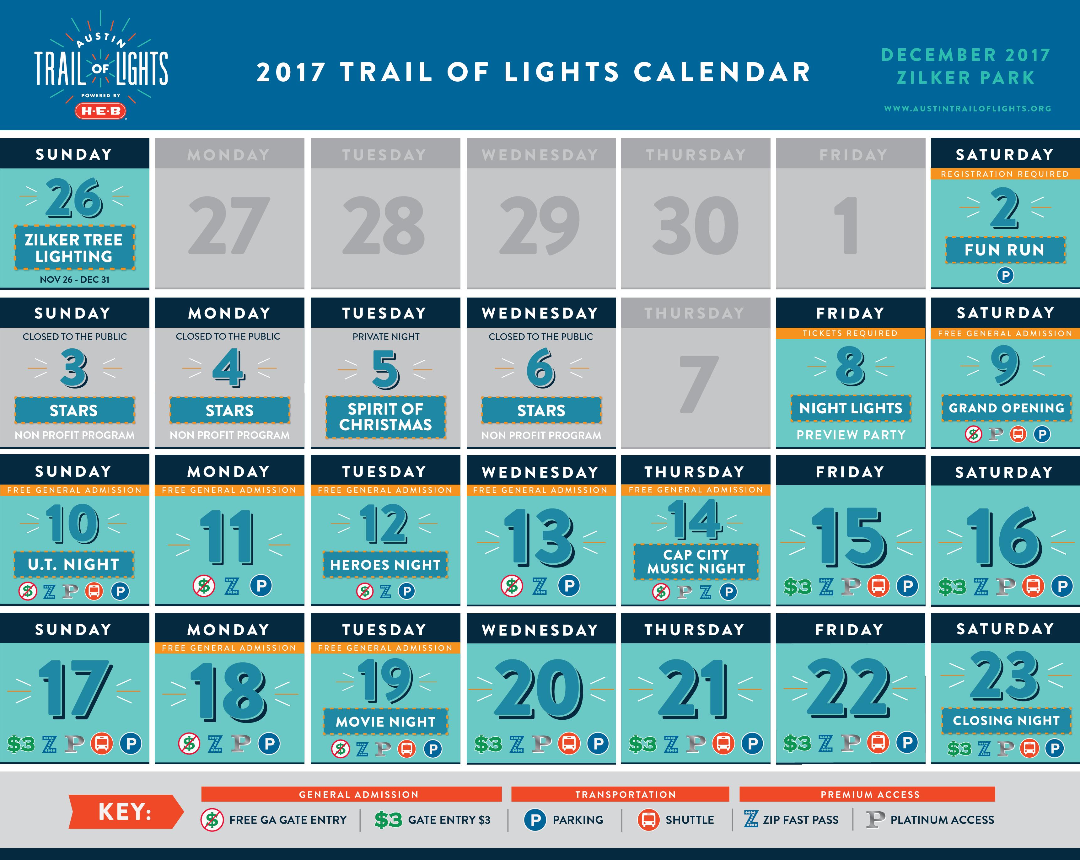 2017 Trail of Lights Calendar