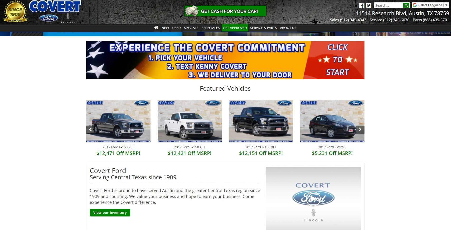 Three of the four 'featured vehicles' on the dealer's website Monday were new 2017 Ford F-150 trucks with an active recall.