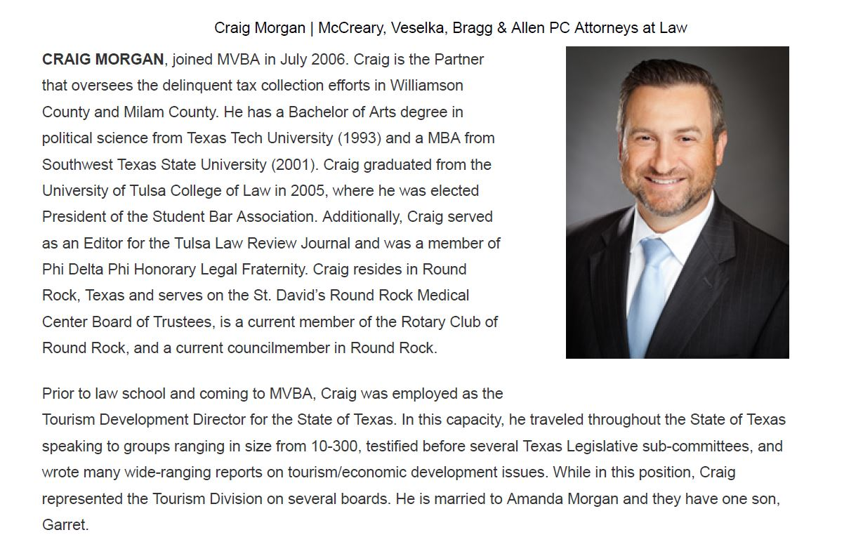 Craig Morgan's bio on the MVBA website on Sept. 7, 2017, which described him as a partner. (Screenshot of MVBA website on Sept. 7, 2017)