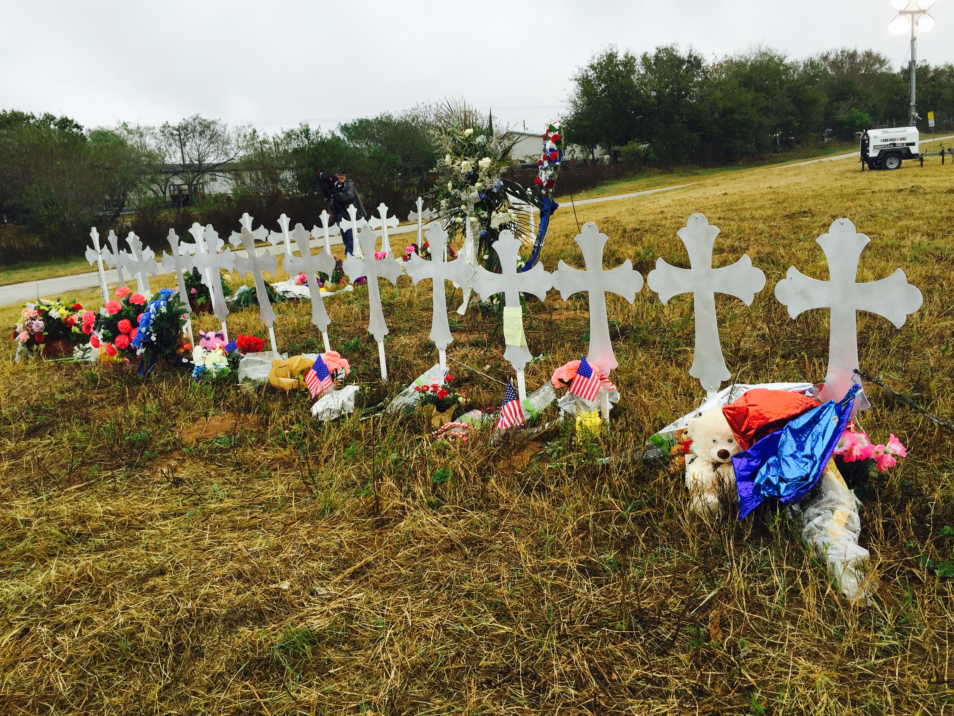 Memorial near 1st Sunday Service in Sutherland Springs after mass shooting.