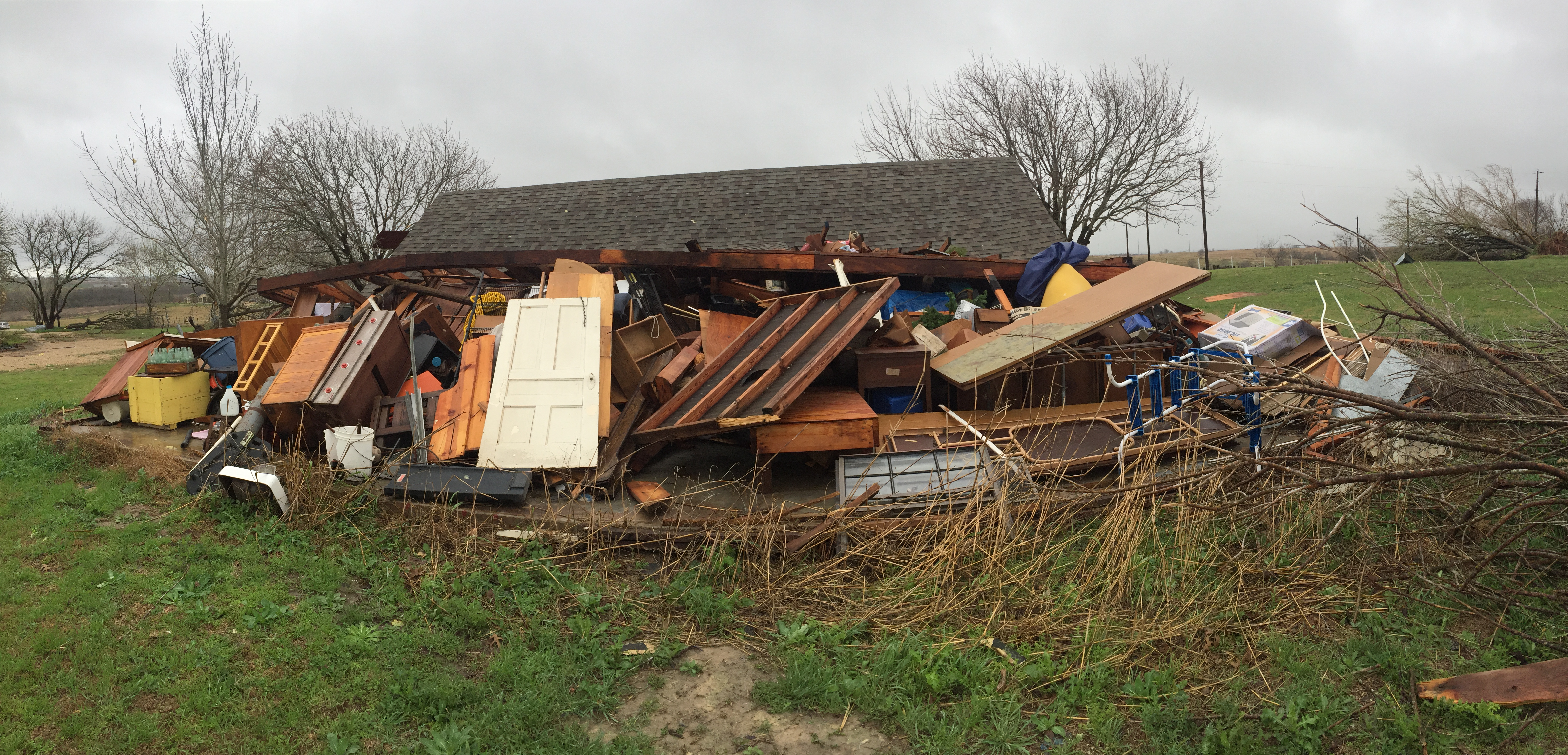 House severely damaged in the Thrall area. The homeowners were out of town at the time of the severe storm (KXAN Photo/ Todd Bailey)