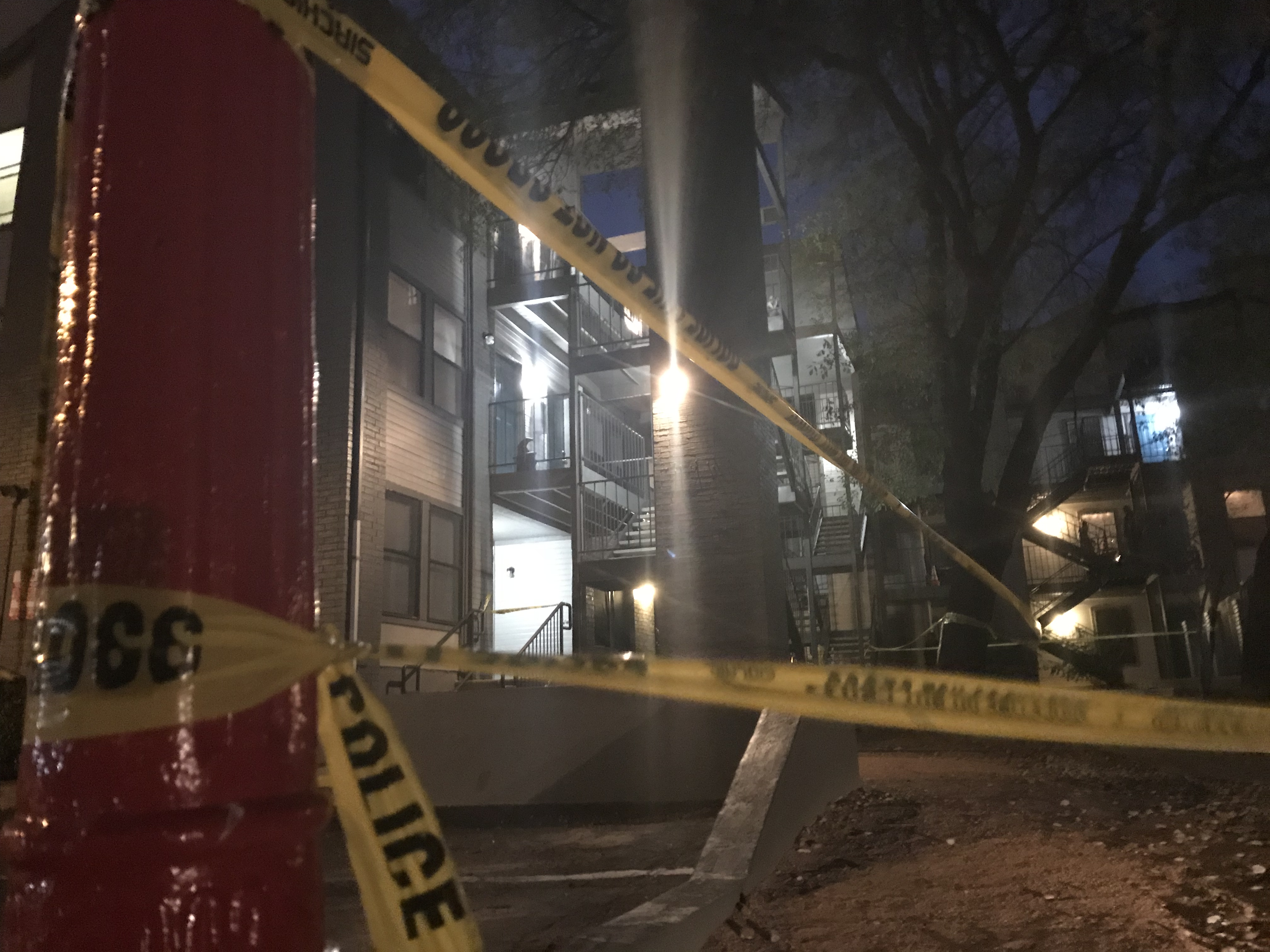 Man shot at an apartment complex at 6408 Burns St. in central Austin on Dec. 13, 2017. (KXAN Photo/Andrew Choat)