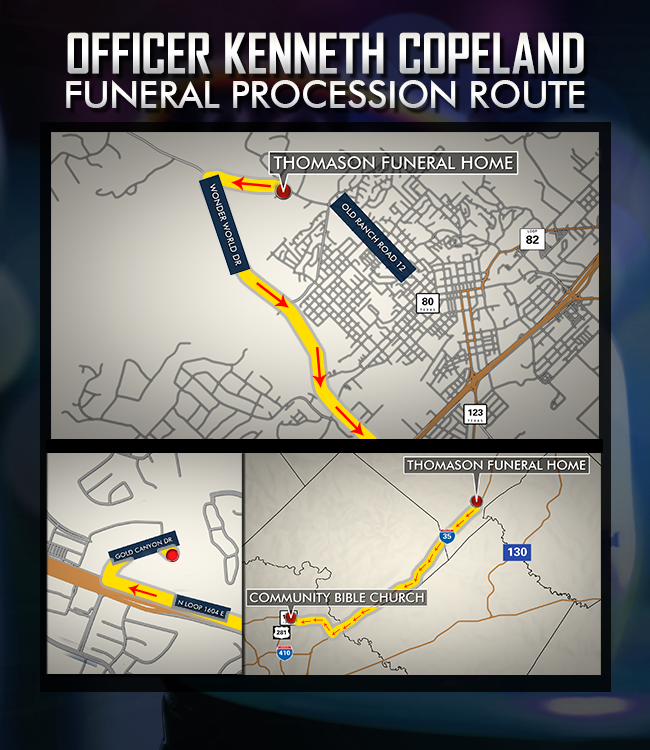 Map of funeral procession route for Officer Ken Copeland on Dec. 13, 2017