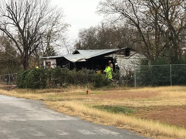 vHome on New Katy Lane in Manor caught on fire on Dec. 22, 2017. (KXAN Photo/Erin Cargile)
