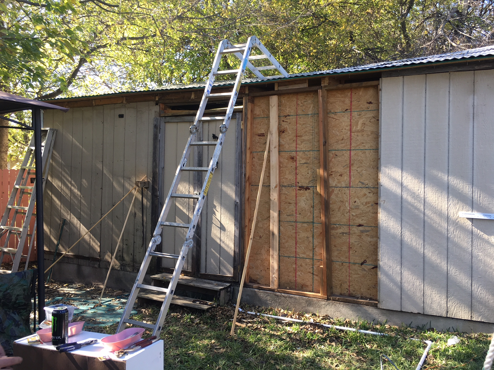 Roof on the shed that needed work, which the firefighters fixed. (KXAN Photo/Todd Bynum)