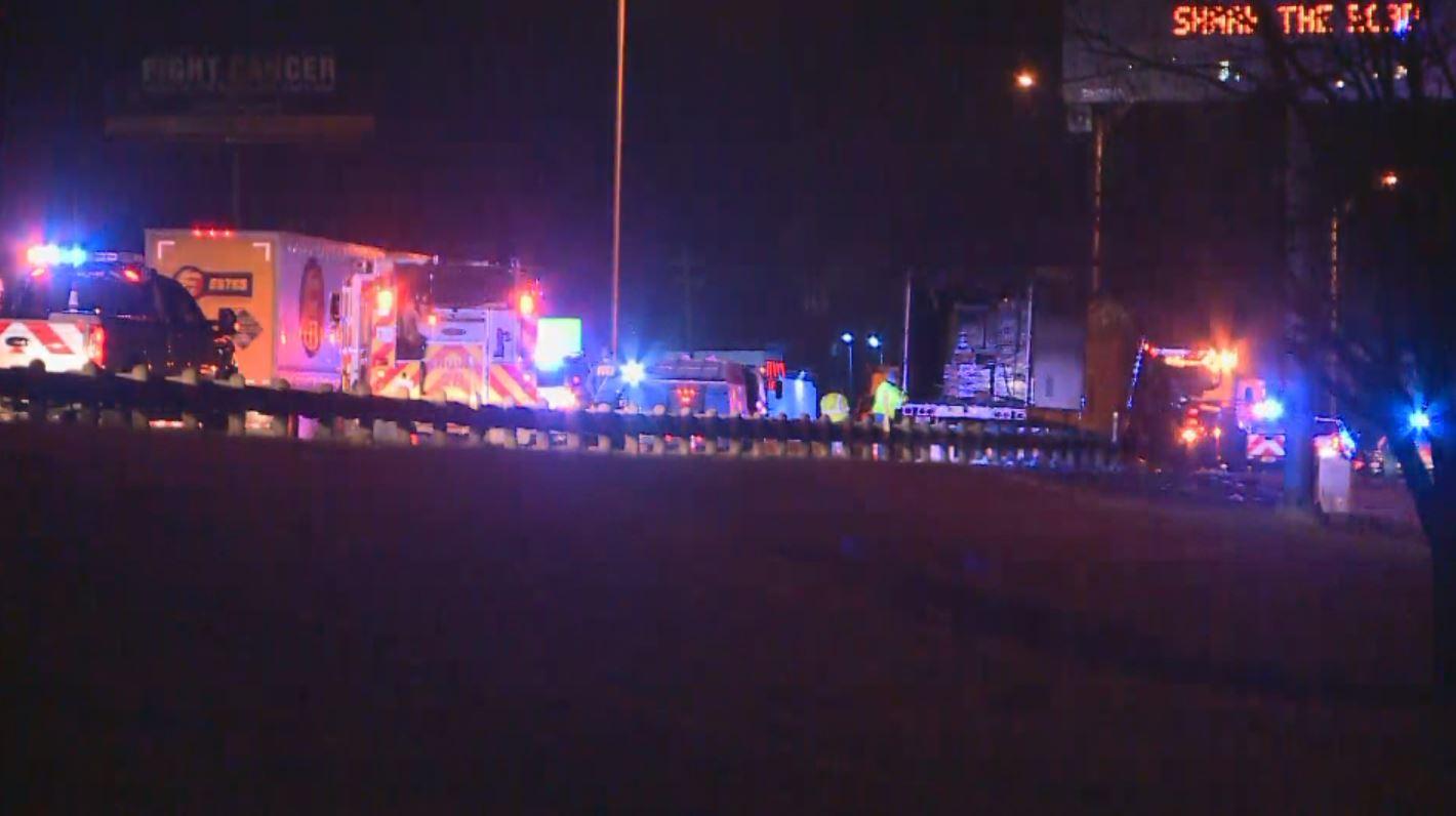 A semi truck caught fire on I-35 in Pflugerville Dec. 21, 2017 (KXAN Photo)