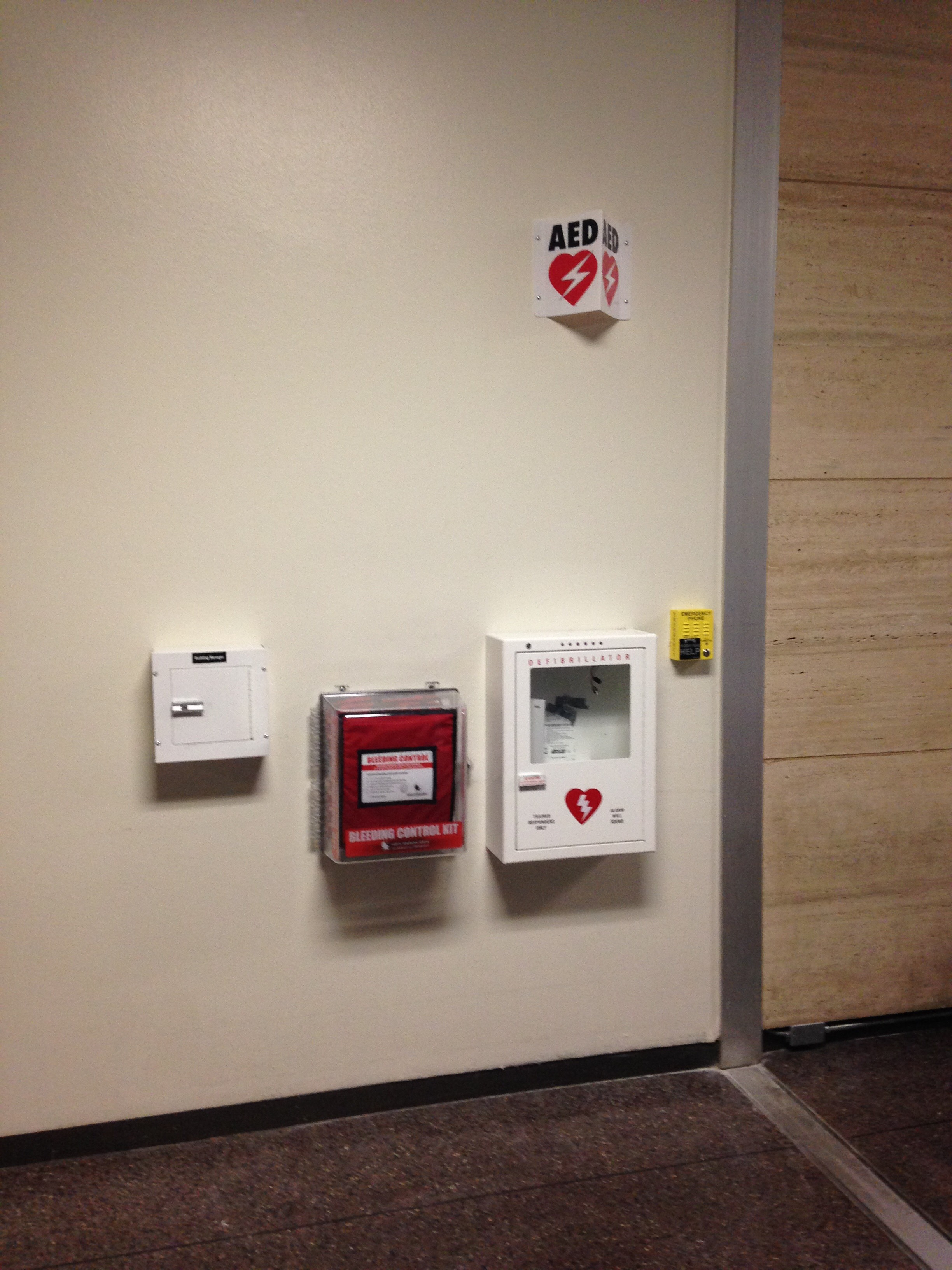 A safety hub already installed at McCombs School of Business on the UT Campus. (Photo Courtesy UT Campus Safety and Security).
