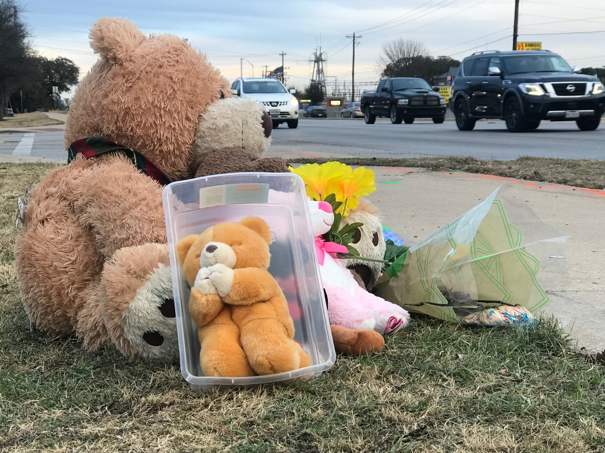 Roadside memorial on West Whitestone Boulevard where two boys were killed in a crash. (KXAN Photo/Frank Martinez)