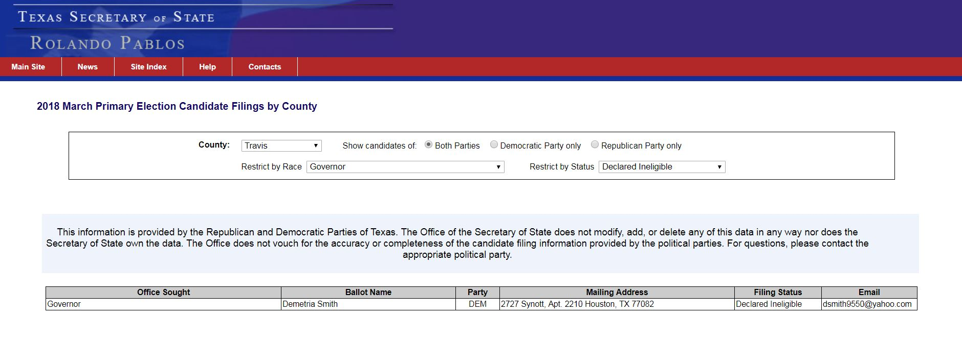 """Information on the Texas Secretary of State's website indicating that democratic gubernatorial candidate Demetria Smith was """"declared ineligible"""". (Photo: Texas Secretary of State website)"""