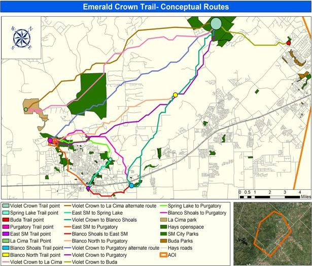 Proposed map for Emerald Crown trail connecting Austin to San Marcos.