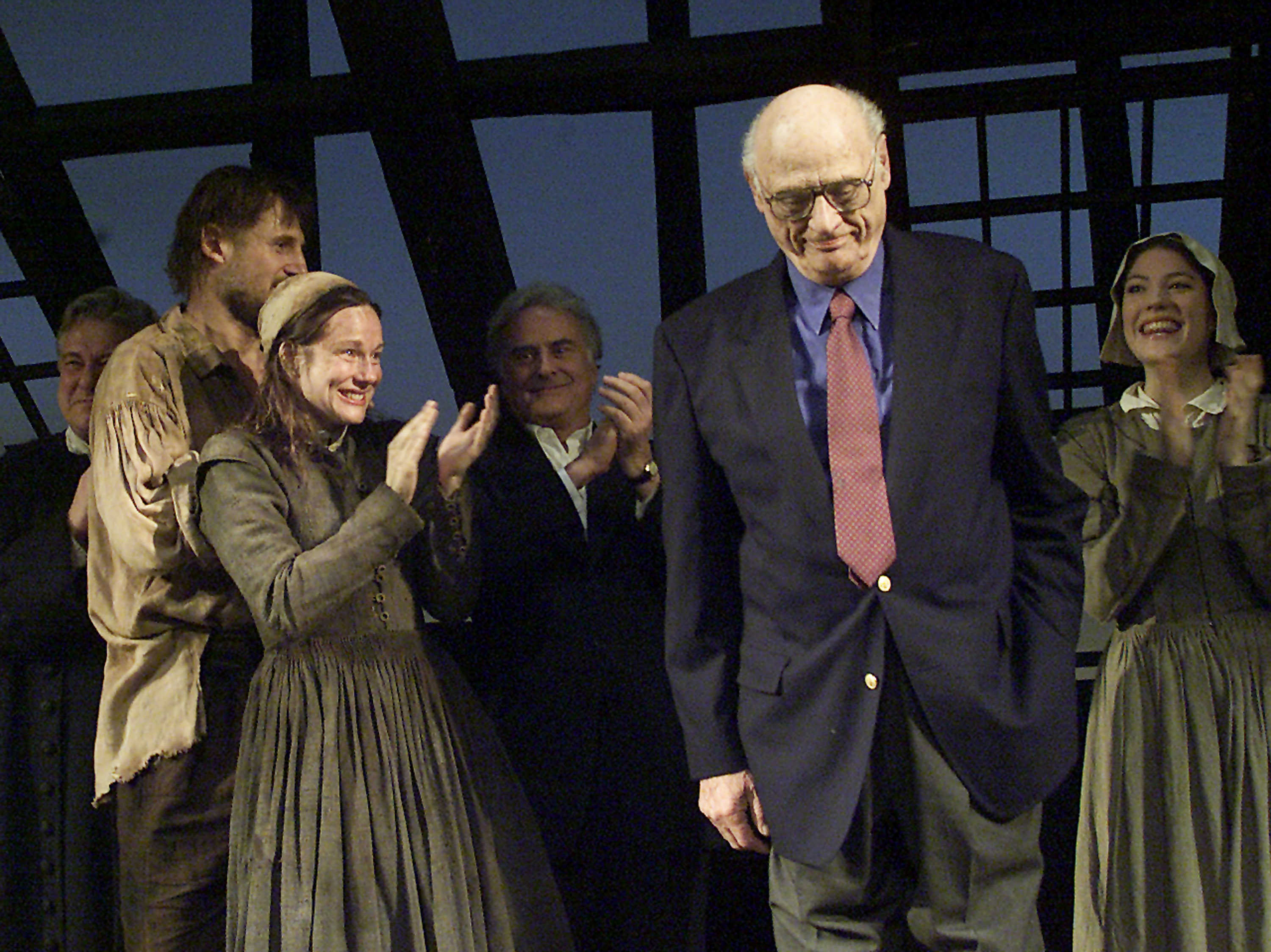 402068 11: Playwright Arthur Miller takes a bow March 7, 2002 during the opening of the play The Crucible at the Virginia Theater in New York City. The play is based on Miller's book. (Photo by Dennis Clark/Getty Images)