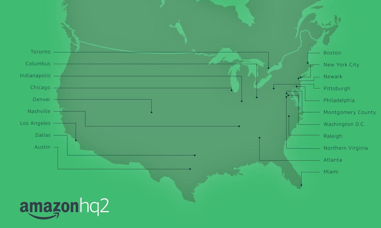 Map of the 20 locations Amazon is considering for its second headquarters (Amazon Photo)
