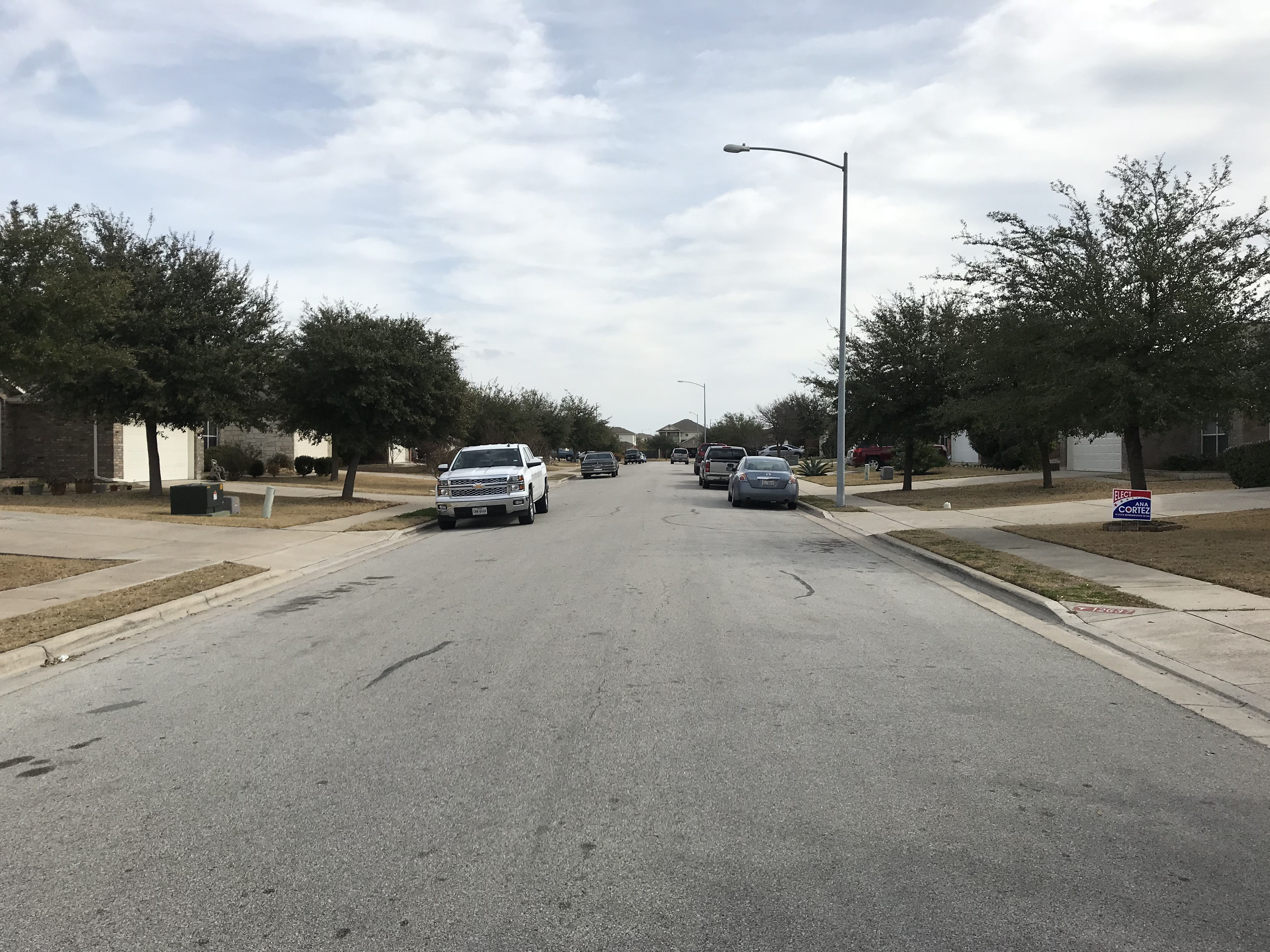 William Harrison Street in Manor where a man was found shot to death in a car parked in a driveway the night of Jan. 31, 2018. (KXAN Photo/Todd Bailey)