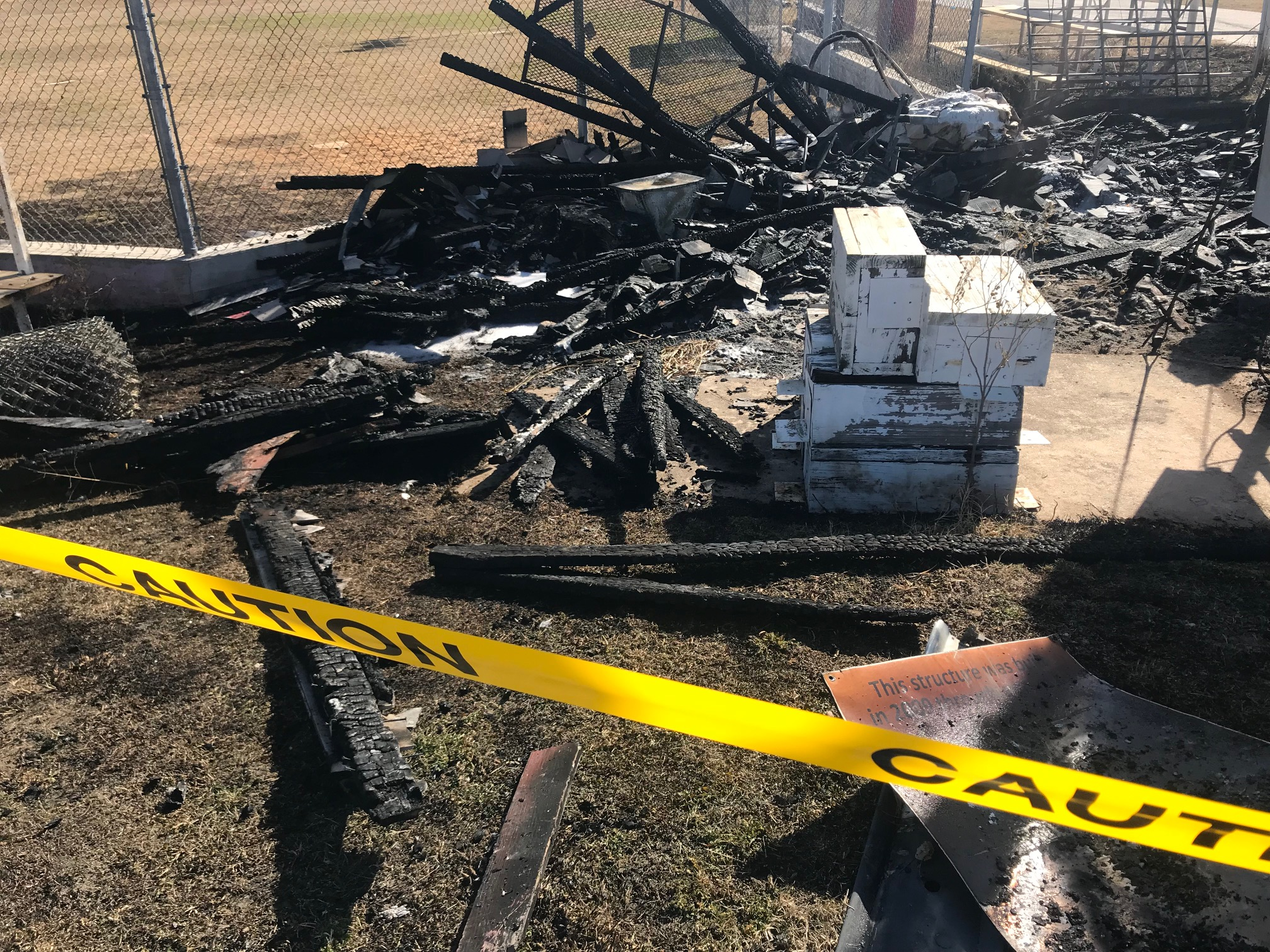 A fire engulfed the announcer's box at a Manor baseball field Jan. 22, 2018 (KXAN Photo/Frank Martinez)