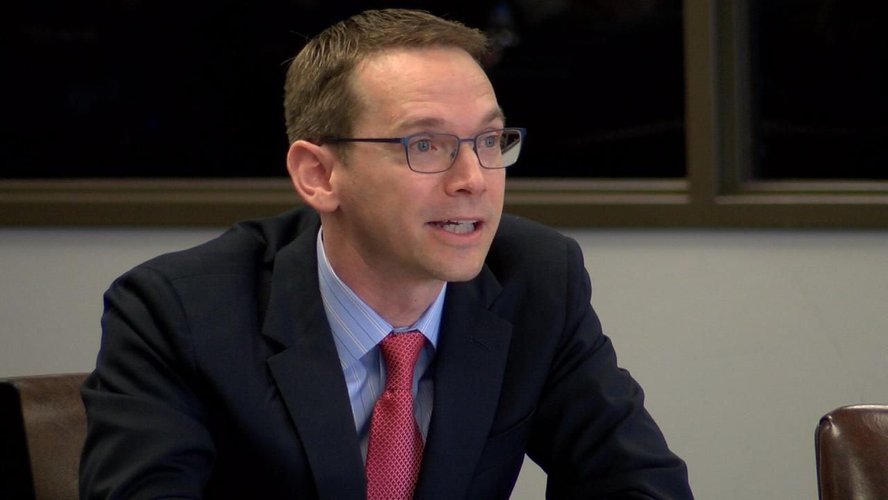 Texas Education Agency Commissioner Mike Morath presents to the Commission on Public School Finance on Jan. 23, 2018. (Nexstar Photo/Wes Rapaport)