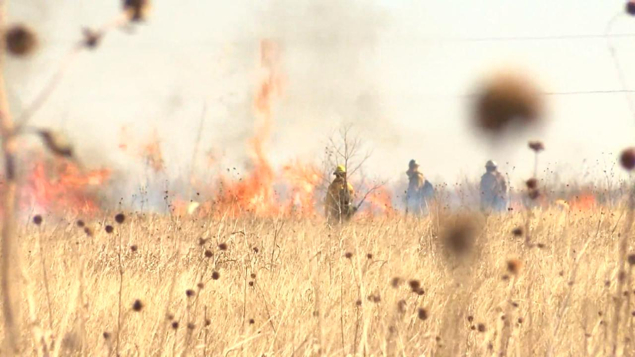 Firefighters in Amarillo conduct a prescribed burn to eliminate some flammable brush, as parts of Texas' Panhandle experience severe drought conditions. (Nexstar Photo)