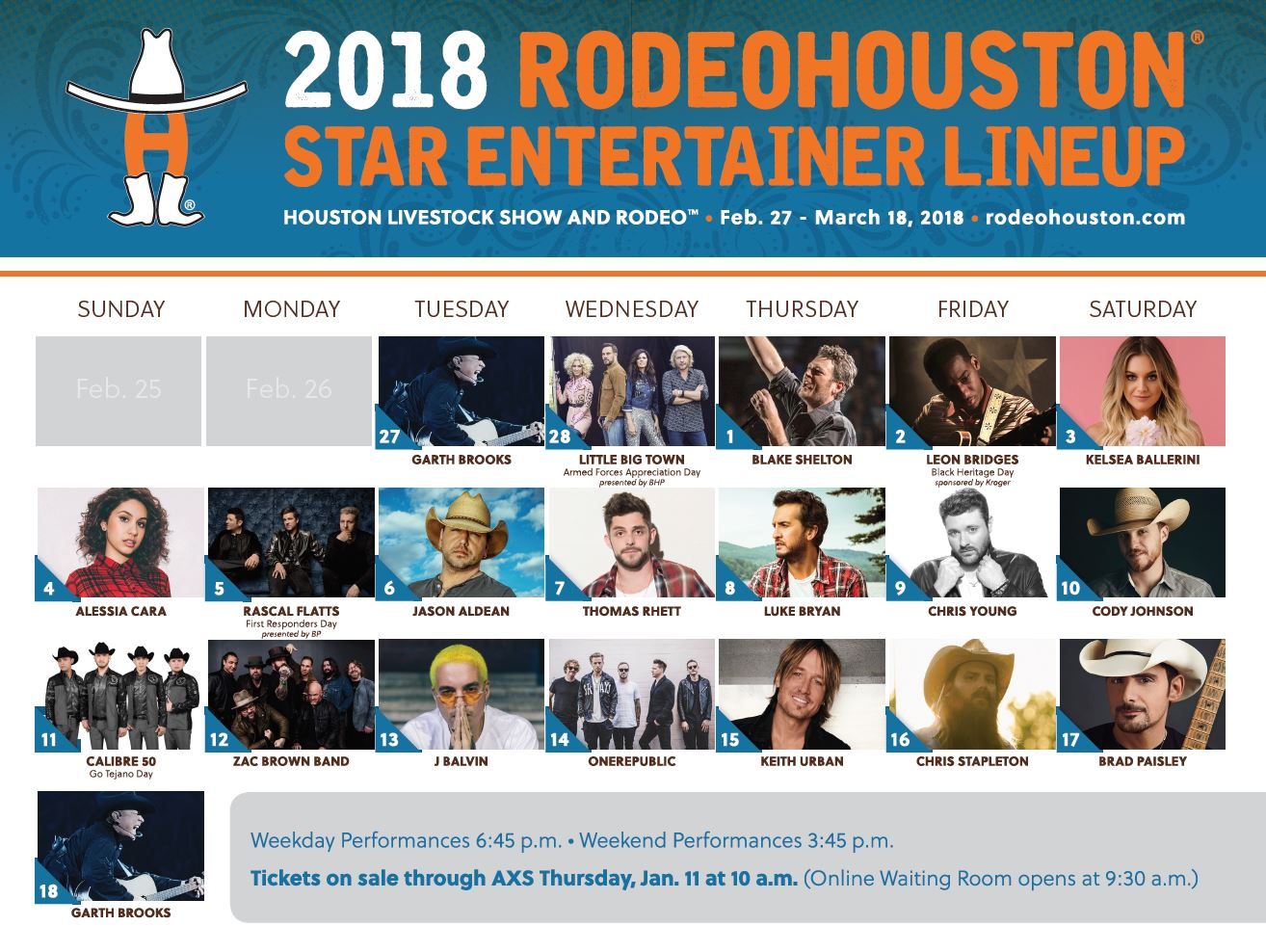 Rodeo Houston 2018 lineup. (Courtesy: Rodeo Houston)