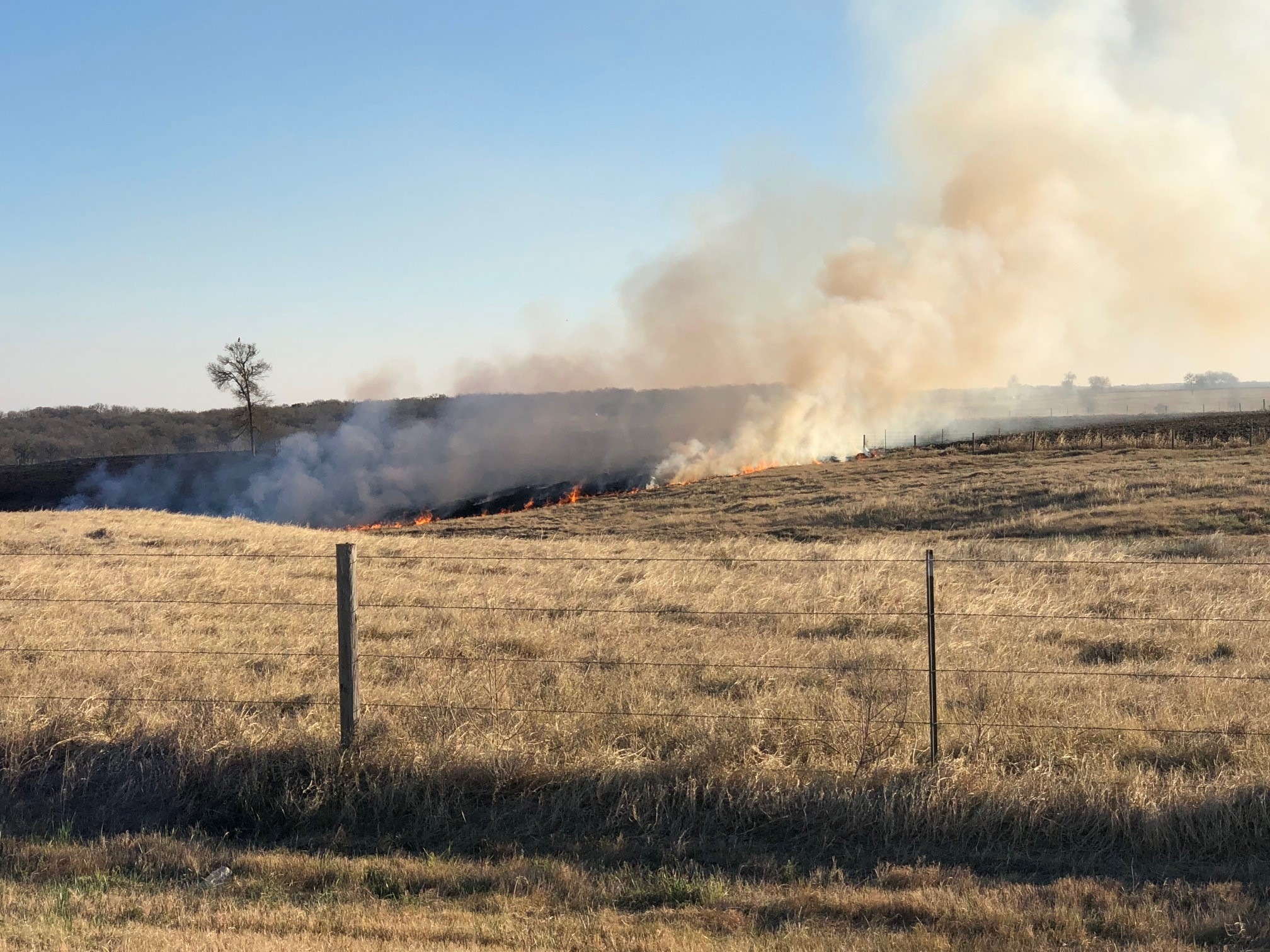 The fire started around 3:15 p.m. along County Road 483 just east of State Highway 95, south of Taylor. (KXAN Photo/Todd Bynum)