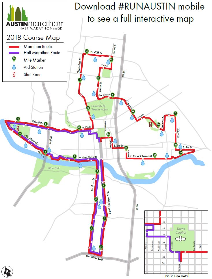 2018 Austin Marathon Map.