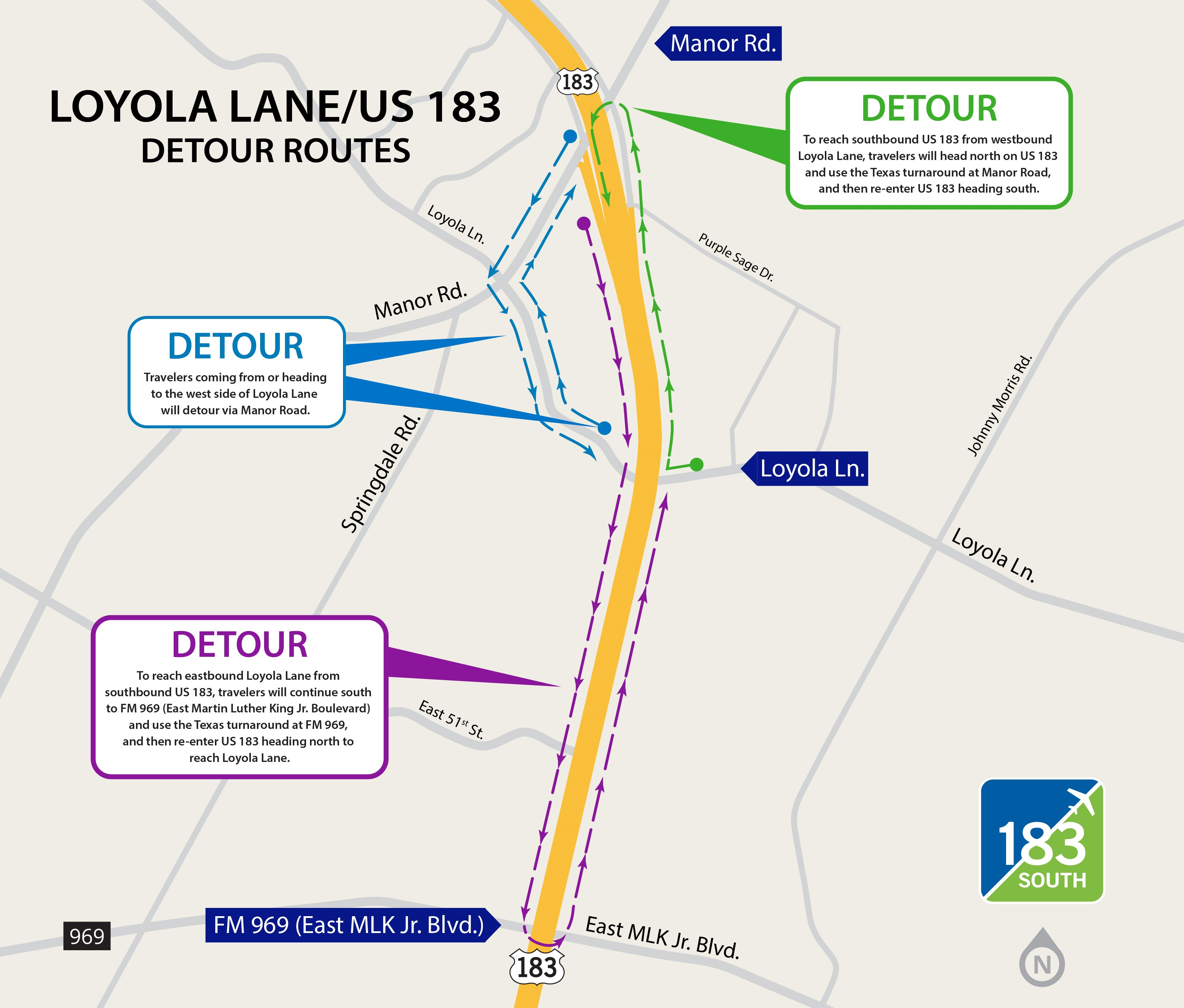 This map shows possible detours around the area of US 183 and Loyola Lane (CTRMA Photo)