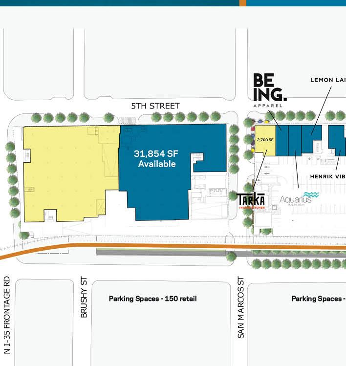 The yellow block on the left is where the new Whole Foods Market 365 will be housed. Image is a cropped version of a map, courtesy of  Columbus Realty Partners.
