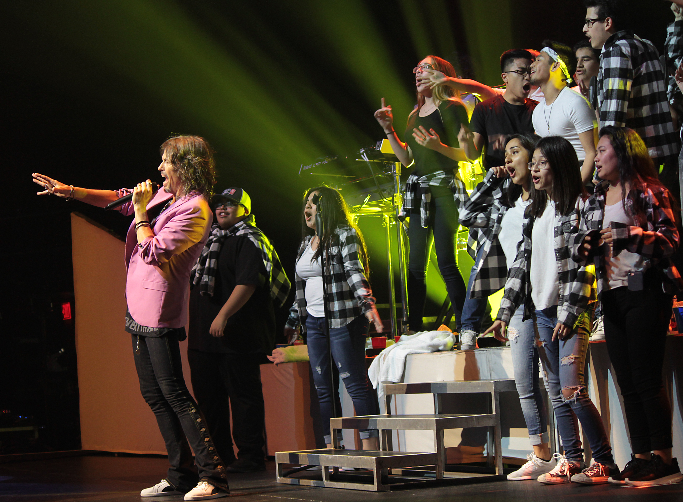 Connally High School choir members performed with the band Foreigner at ACL Live Feb. 25, 2018 (PfISD Photo)