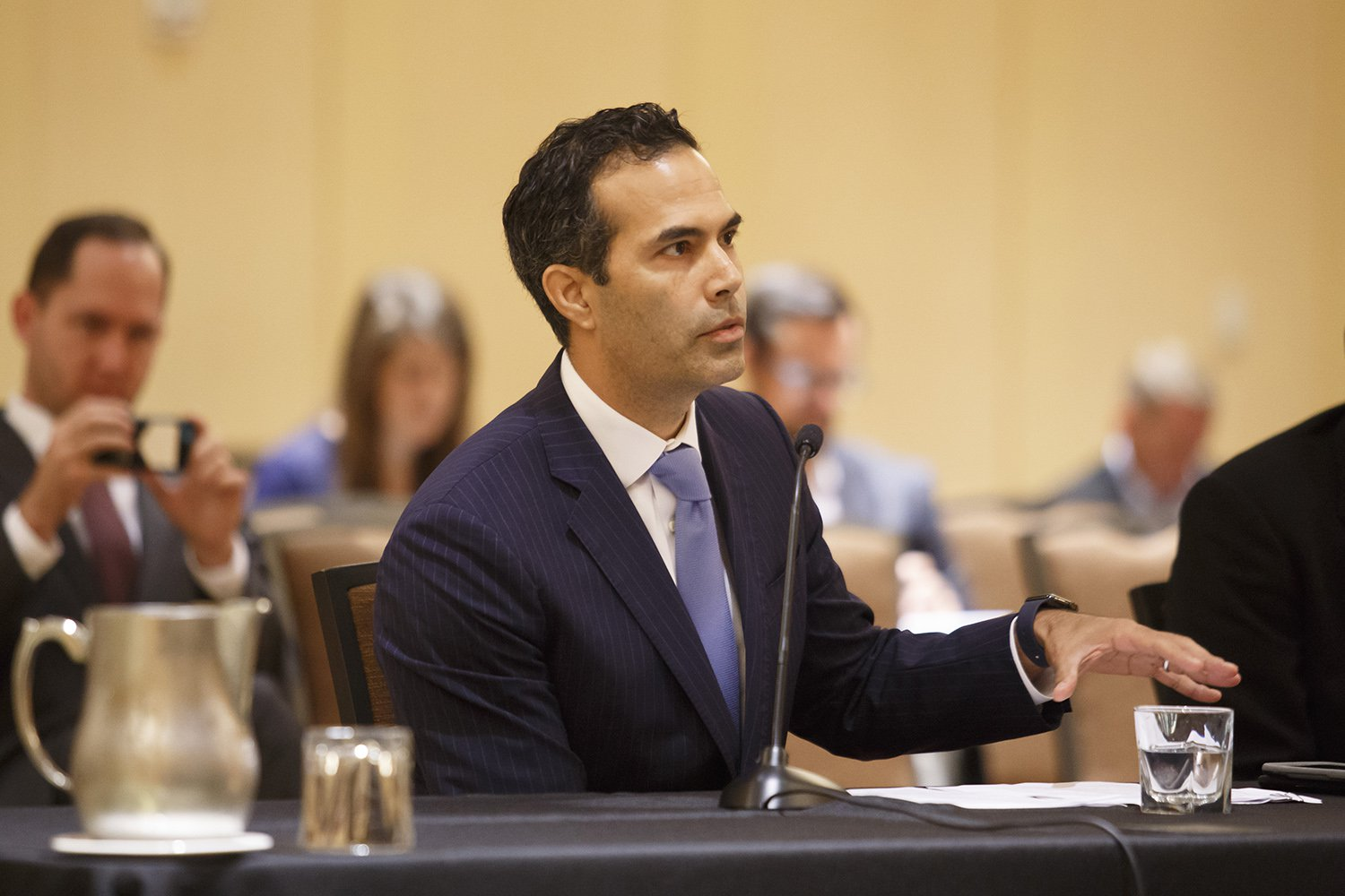 Texas Land Commissioner George P. Bush speaks to the Texas House Urban Affairs Committee during a special Houston meeting on Hurricane Harvey in October 2017. Michael Stravato for The Texas Tribune
