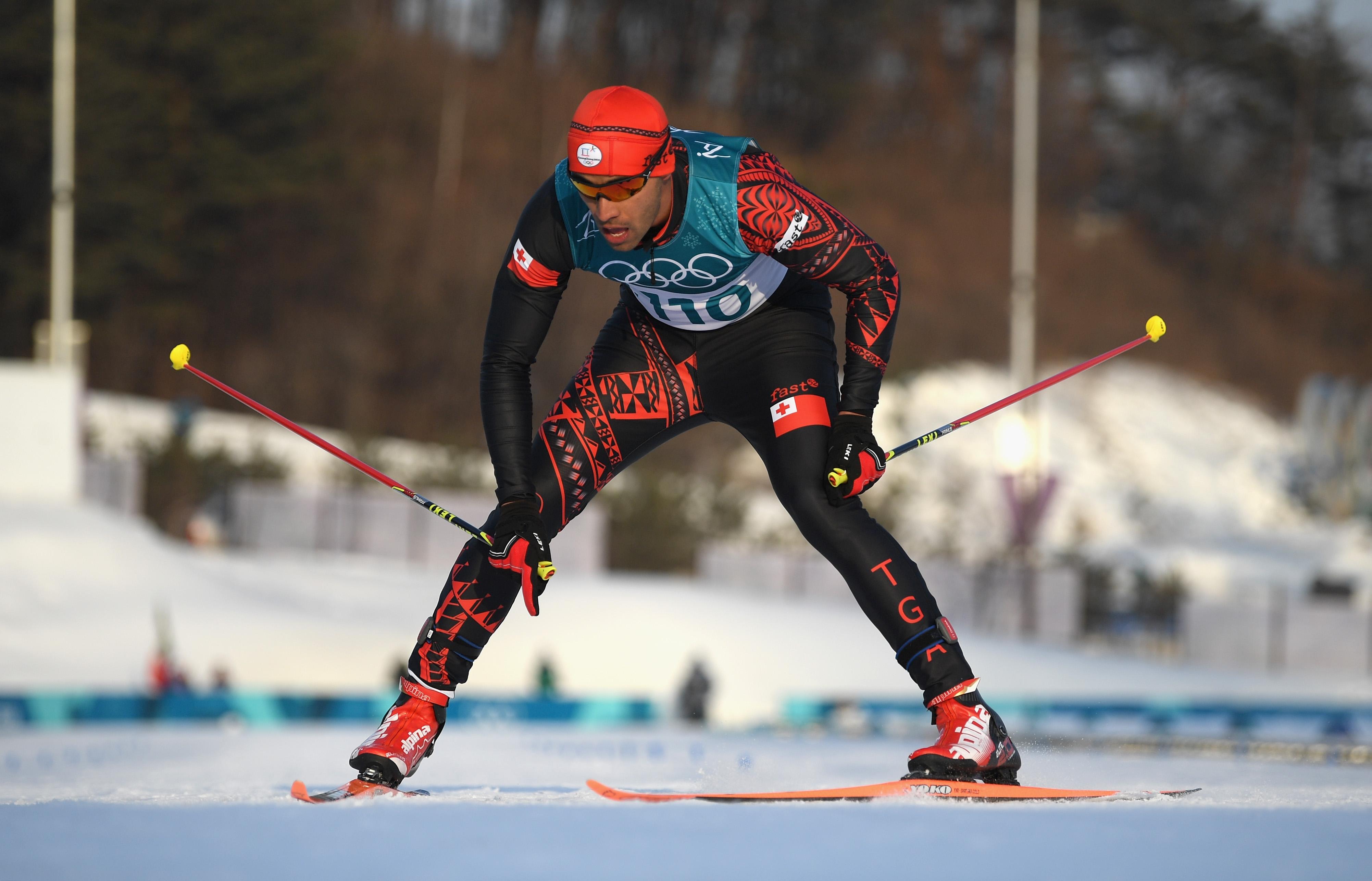 PYEONGCHANG-GUN, SOUTH KOREA - FEBRUARY 16:  Pita Taufatofua of Tonga crosses the finish line during the Cross-Country Skiing Men's 15km Free at Alpensia Cross-Country Centre on February 16, 2018 in Pyeongchang-gun, South Korea.  (Photo by...