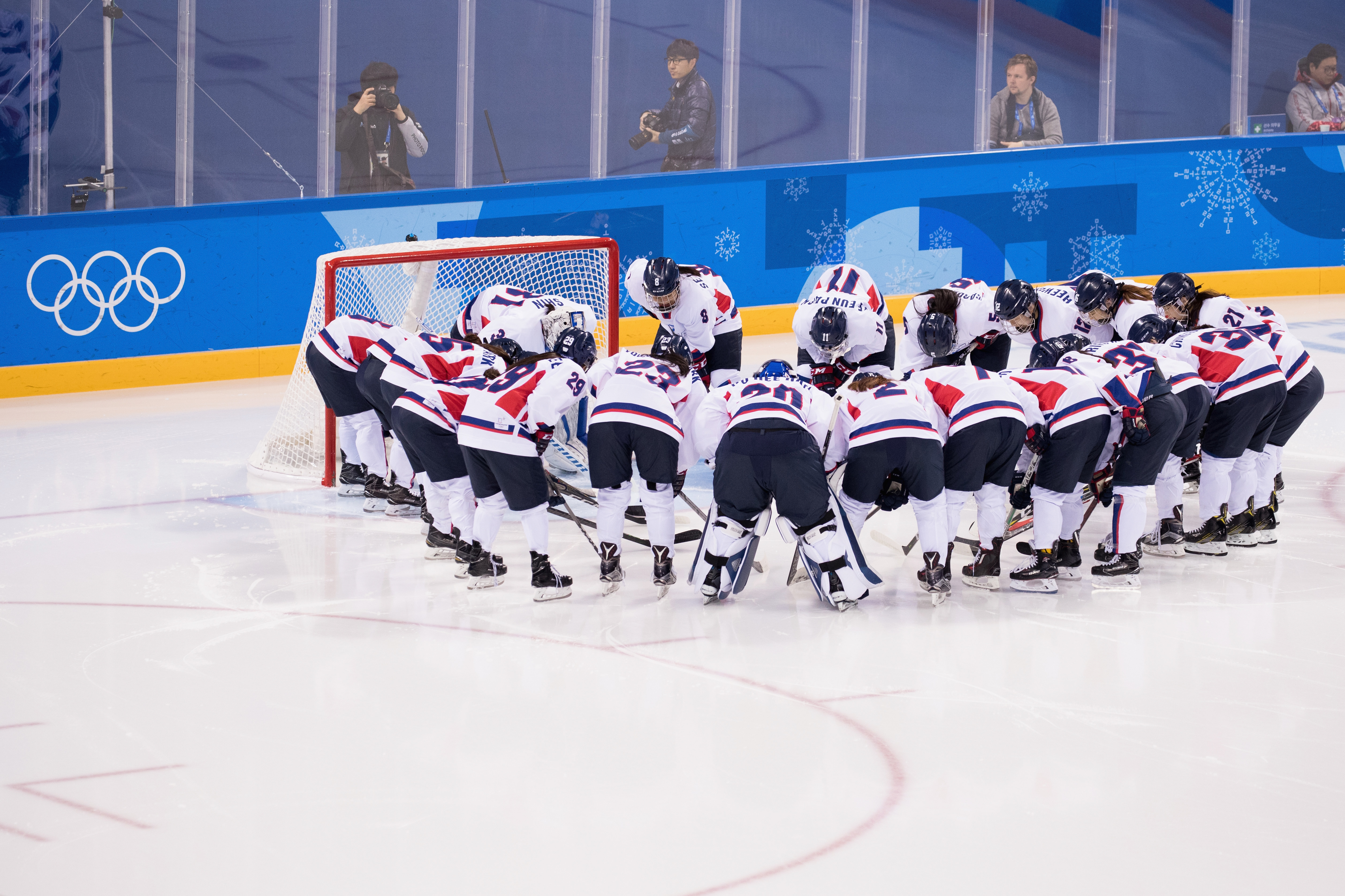GANGNEUNG, SOUTH KOREA - FEBRUARY 20:   Team Korea prepare prior to the match against Sweden during the Women's Classifications game on day eleven of the PyeongChang 2018 Winter Olympic Games at Kwandong Hockey Centre on February 20, 2018 in...