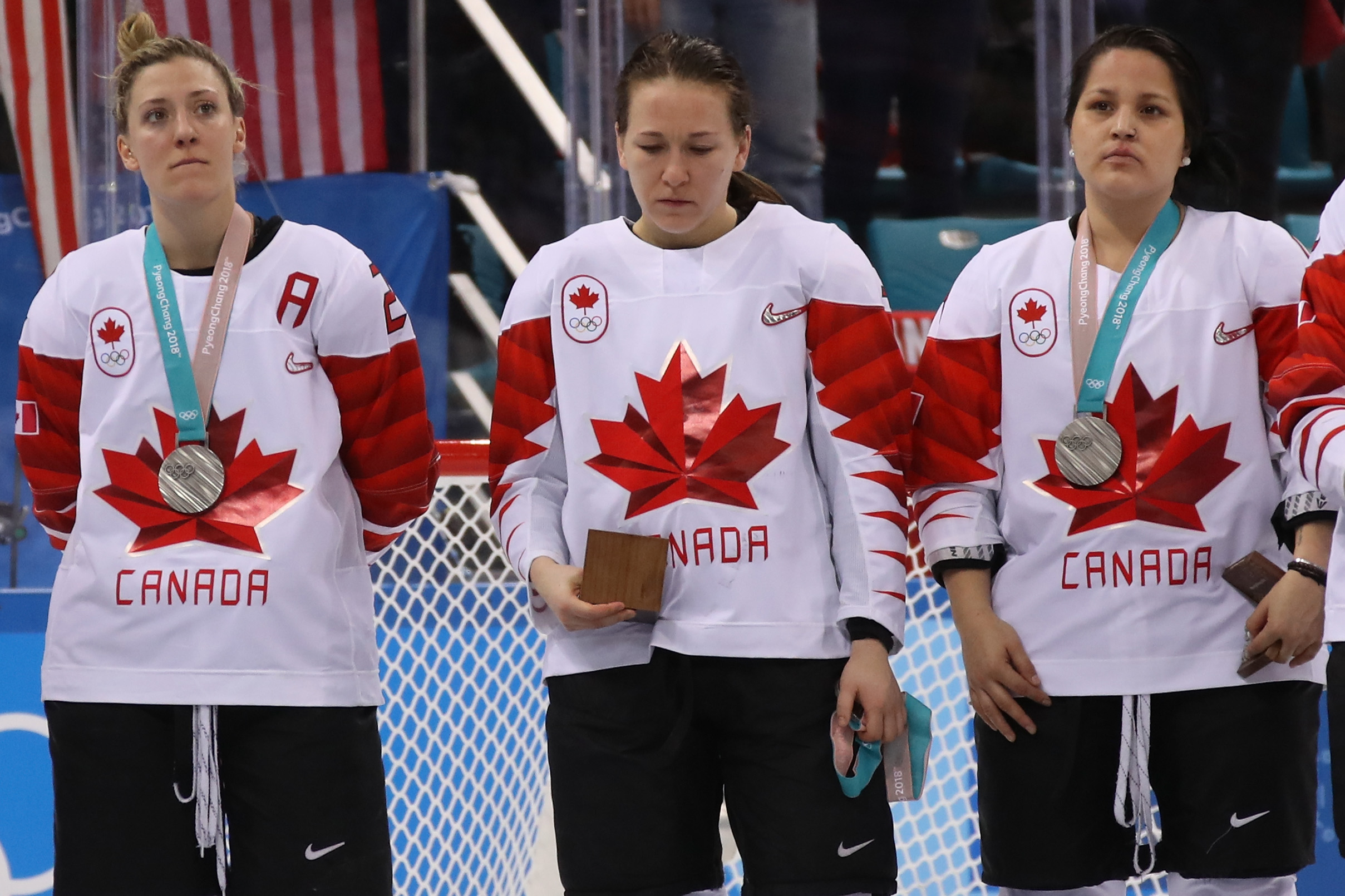 GANGNEUNG, SOUTH KOREA - FEBRUARY 22:  Jocelyne Larocque #3 of Canada refuses to wear her silver medal after losing to the United States in the Women's Gold Medal Game on day thirteen of the PyeongChang 2018 Winter Olympic Games at Gangneung...