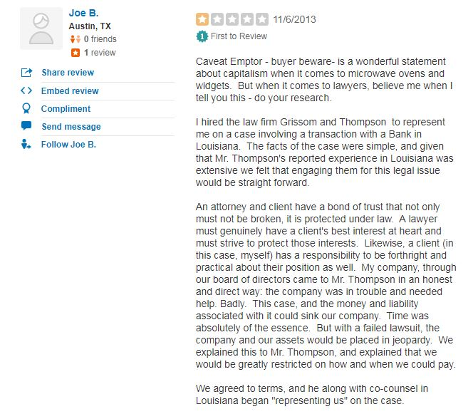 Yelp review by Joe Browning. (Screenshot of the review on Yelp)