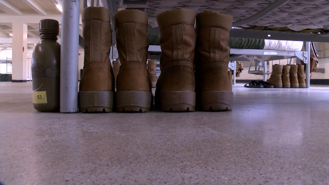 Boots belonging to a recruit from West Texas who participated in Marine Corps Recruit Training in San Diego, CA in June 2017. (Nexstar Photo/Emily Falkenberg)