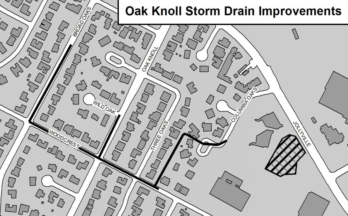 A map of the plan for Oak Knoll Storm Drain Improvements. City of Austin Map.