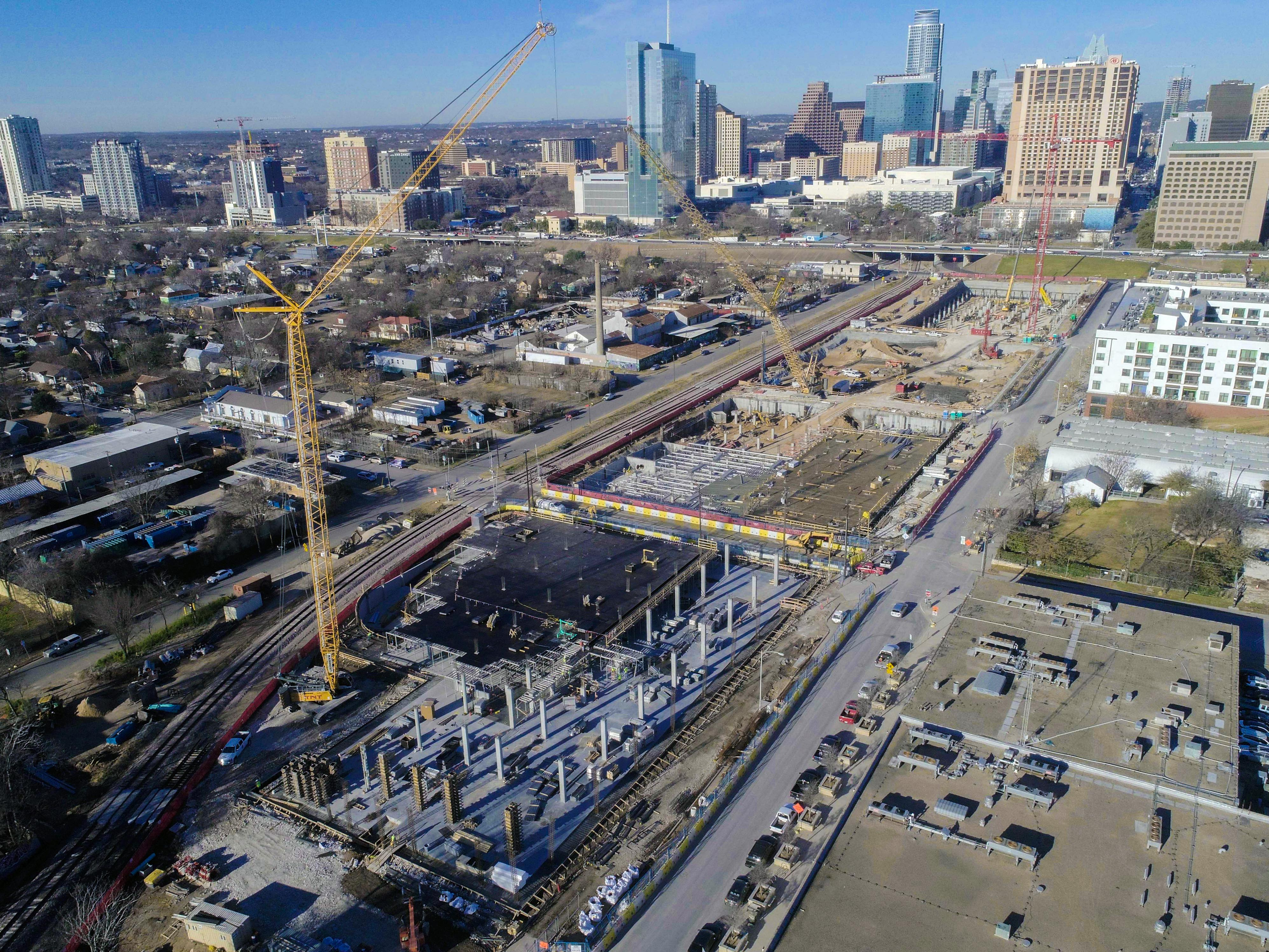A recent aerial of the Plaza Saltillo development, provided by Columbus Realty Partners.