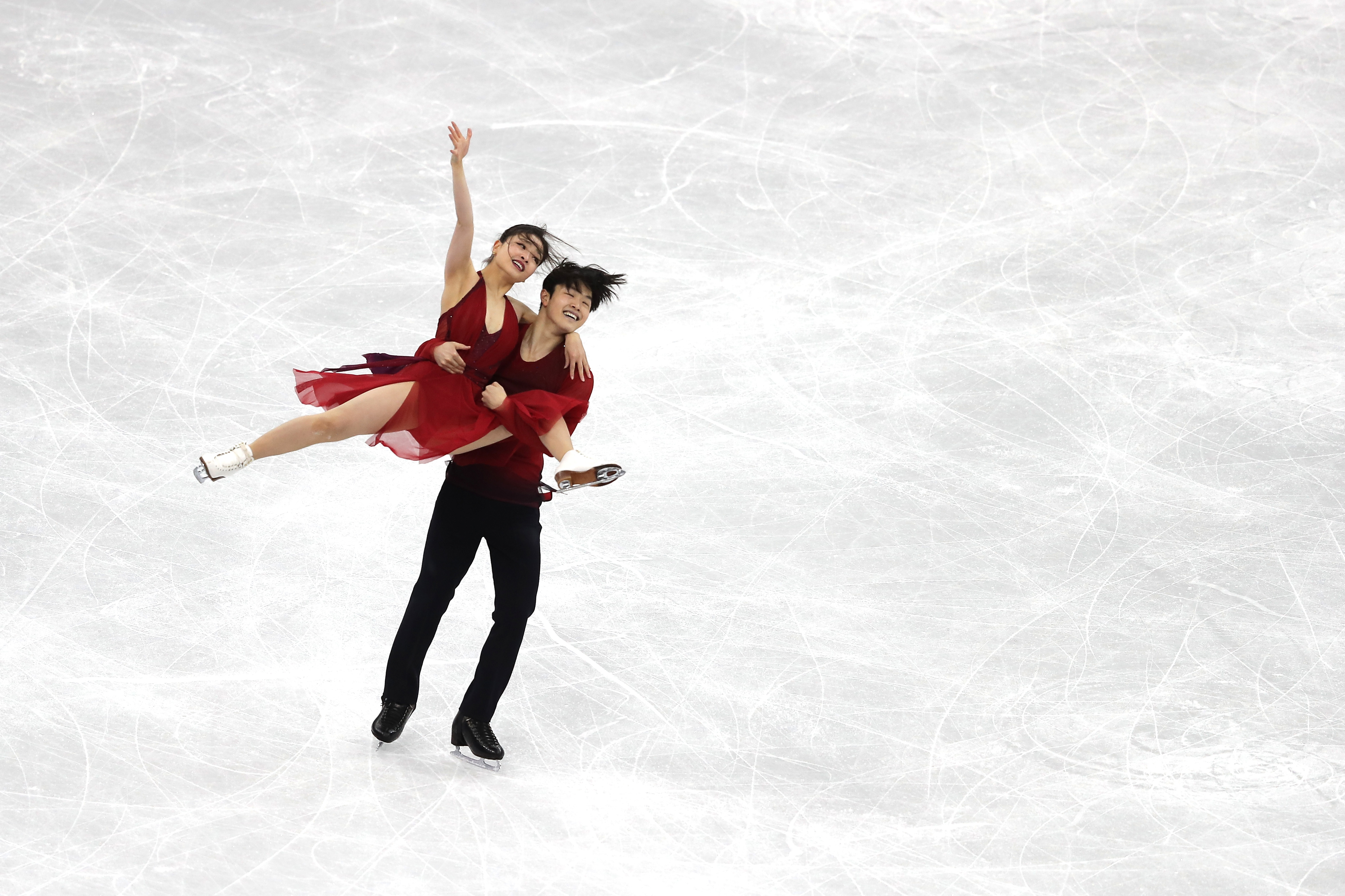 GANGNEUNG, SOUTH KOREA - FEBRUARY 20:  Maia Shibutani and Alex Shibutani of the United States compete in the Figure Skating Ice Dance Free Dance on day eleven of the PyeongChang 2018 Winter Olympic Games at Gangneung Ice Arena on February 20, 2018...