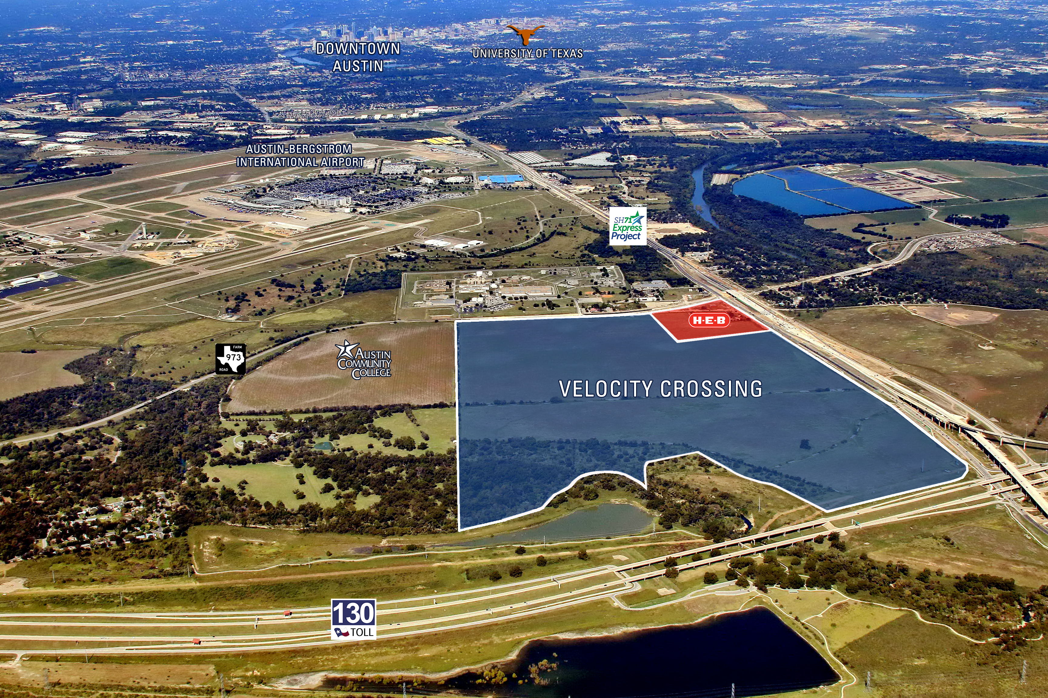 Velocity Crossing will cover at least 375 acres in southeast Austin, which will include retail, office, residential, and other uses. (Marketplace Real Estate Group)