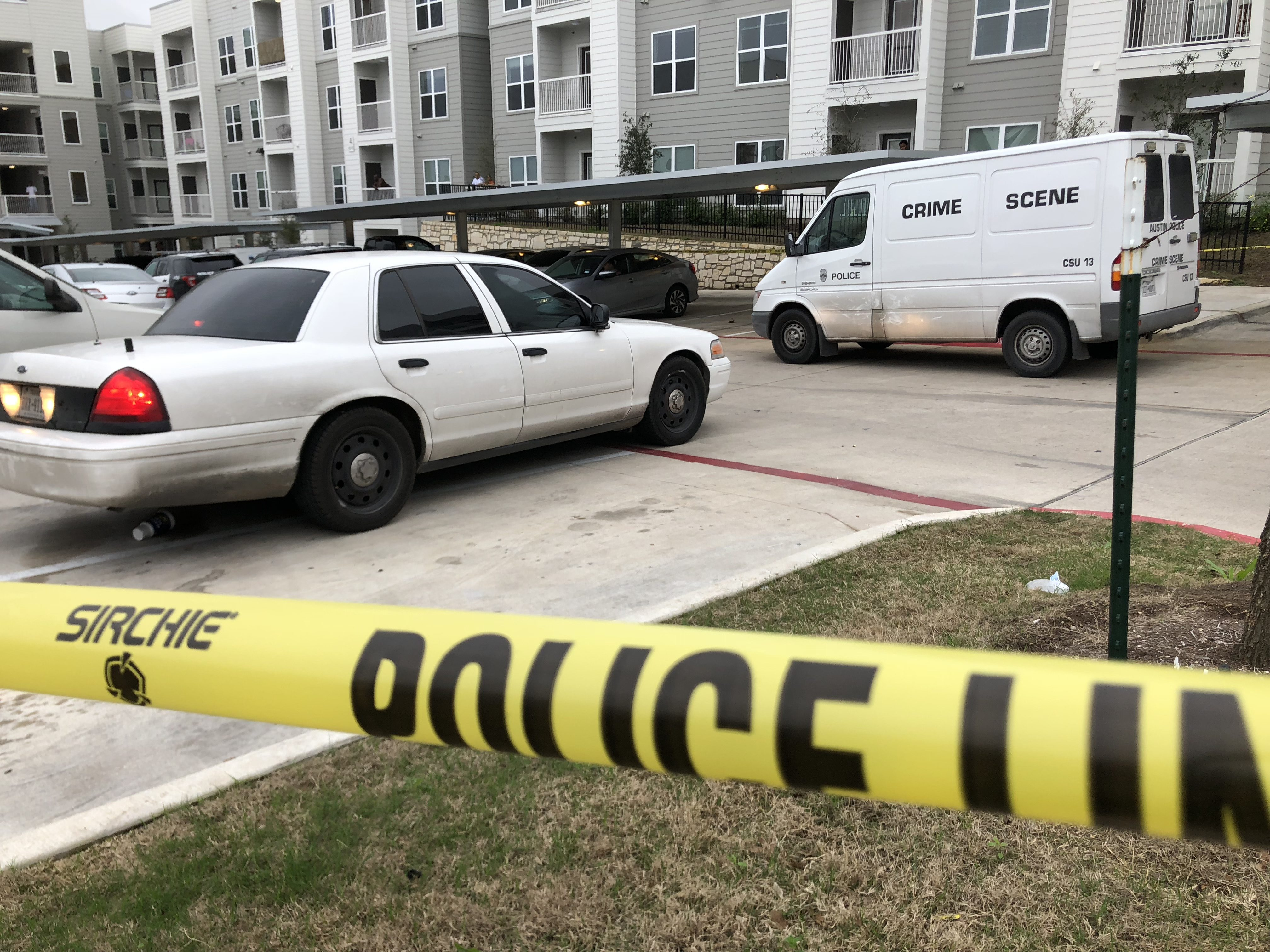 A man died of gunshot wounds at the Reserve at Springdale Apartments March 5, 2018 (KXAN Photo/Julie Karam)