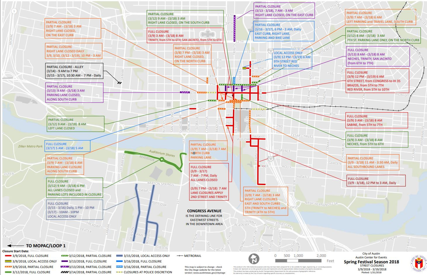2018 SXSW Street closures map. (City of Austin)